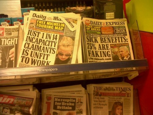 Photo of today's papers - Headlines claim that just 1 in 14 are unfit for work. Photo by @opinion8ed_dyke