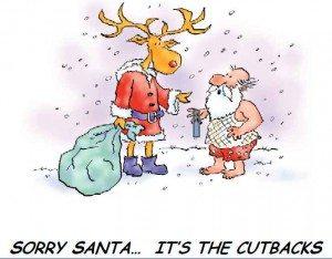 reindeer saying 'serry Santa' to bearded man in his underwear.